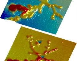 2. Кристалл соли до и после наноиндентации.
